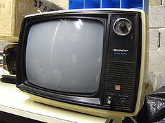 an old yellow tv